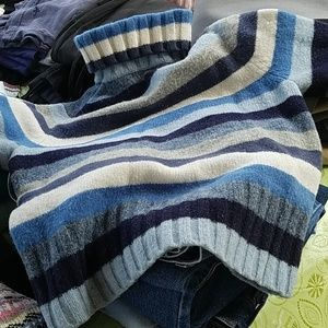 Blue, white striped turtle neck sweater